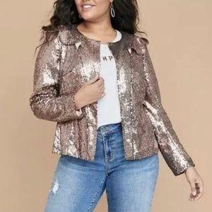Lane Bryant Rose Gold Sequin Blazer